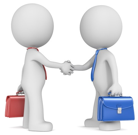 bonhomme blanc: The Dude X 2 serrant la main, c�t� bleu et rouge Banque d'images