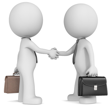 Business handshake  The Dude X 2 shaking hands wearing tie and briefcase  Side view