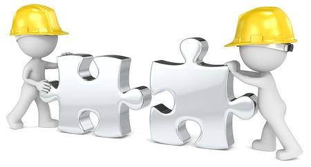 ingeniero: Equipo de construcción Amigo constructor x 2 Poner las piezas del rompecabezas juntas