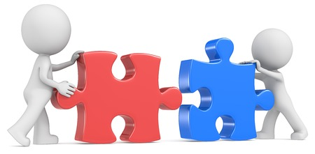 red  man: Socios de negocios del tipo del los socios x 2 poniendo pedazos del rompecabezas juntos Rojo y Azul Foto de archivo