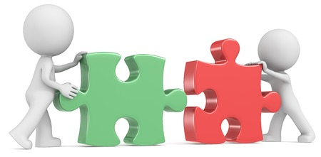Business Partners  Dude the partners x 2 putting puzzle pieces together  Red and Green  photo