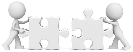Business Partners  Dude the partners x 2 putting white puzzle pieces together