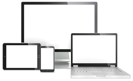 computer graphic: Responsive Web Design  Blank RWD concept  Smartphone,laptop,screen and tablet computer  No branded  Stock Photo