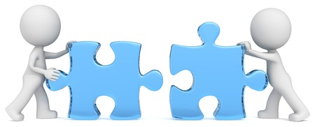 Solution  Dude the partners x 2 putting blue glass puzzle pieces together   Stock Photo
