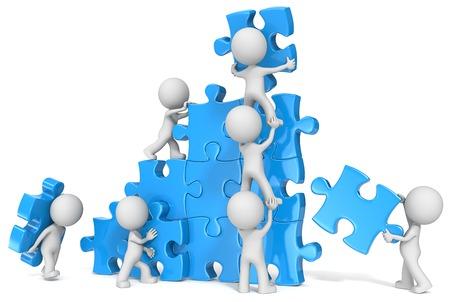 � teamwork: Il tizio x 7 edificio grande puzzle. Blu.
