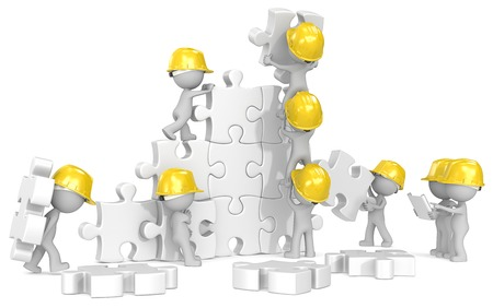 commitment: Construction time  Dude x 9 the builders at puzzle construction site  Stock Photo