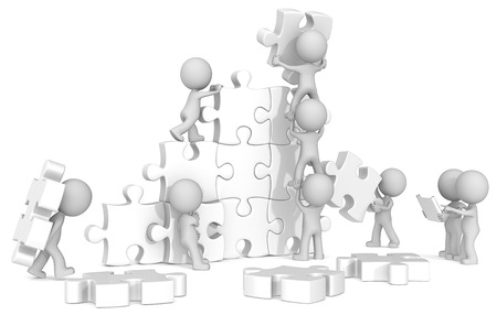 Team Building  The dude x 9 building large white puzzle from blueprint   photo