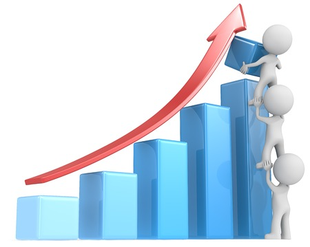 teamwork together: Growth. The dude x 3 helping increase blue bar diagram. Red arrow. Stock Photo