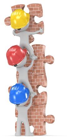 Bouwtijd weer. Kerel de bouwers x 3 gebouw bakstenen muur puzzel toren. Stockfoto - 31001566