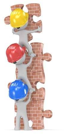 Construction time again. Dude the builders x 3 building brick wall puzzle tower. Stock Photo