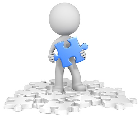 Finding the solution. The dude finding blue puzzle piece. Random white. Stock Photo
