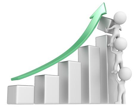 Solid Growth. The dude x 3 helping increase metal bar diagram. Green arrow.