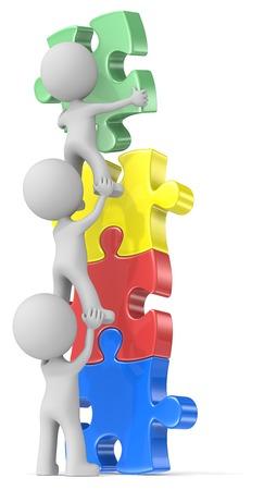 People Unite. The dude x 3 building puzzle diversity tower in four colors. Banque d'images