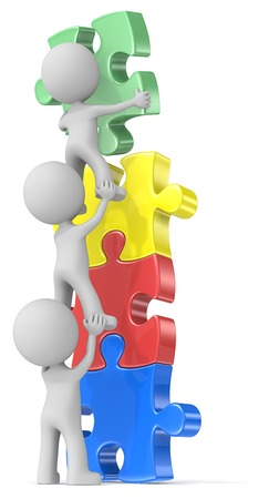 People Unite. The dude x 3 building puzzle diversity tower in four colors. Stockfoto