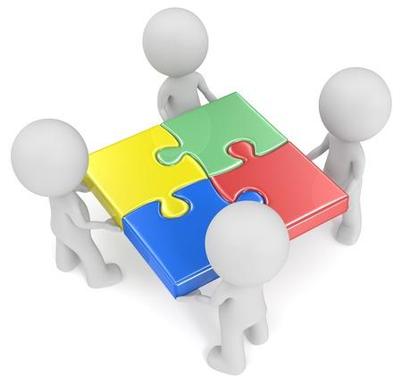 Het team. De kerel x 4 bedrijf toegetreden tot puzzelstukjes. Rood, groen, blauw en geel.