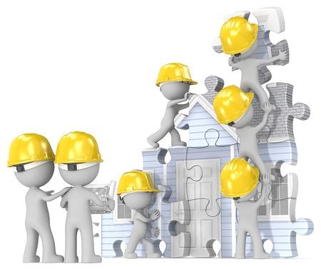 alba�il: Sitio de construcci�n de viviendas. TIPO de los constructores x 7 la construcci�n de la casa del rompecabezas abstracto del modelo. Foto de archivo