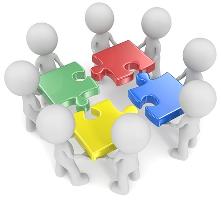 team problems: Mega Team. The dude x 8 holding disassembled puzzle pieces. Red, green, blue and yellow. Stock Photo