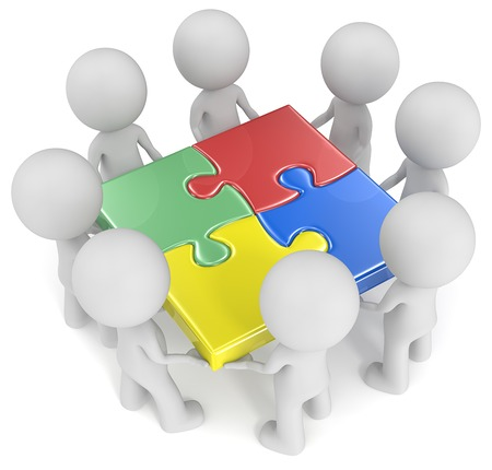 The team.The dude x 4 holding joined puzzle pieces. Red, green, blue and yellow.