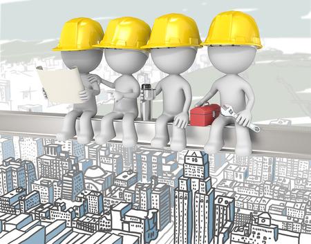 Bovenop een wolkenkrabber. Dude de bouwvakkers zitten op een balk. Cityscape achtergrond.