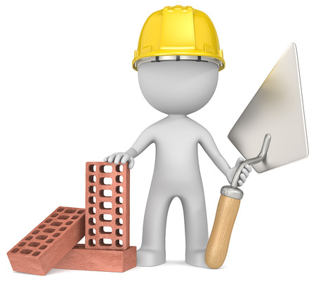 The Bricklayer. Dude the Bricklayer with trowel and bricks. photo