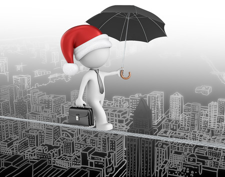 Santa claus is coming to town. Dude the business man with santa claus hat. Walking on wire above cityscape. photo