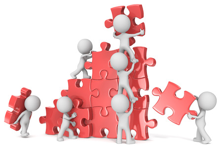 Teamwork. The dude x 7 building large puzzle. Red. Stockfoto