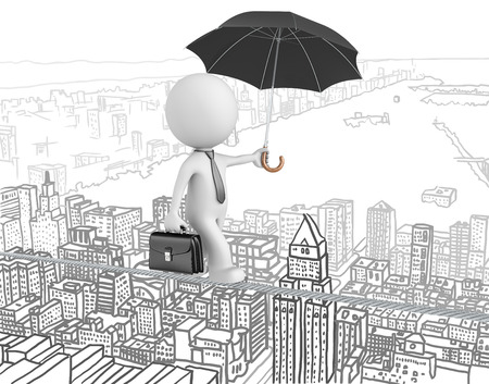 taking a risk: Challenges and Risk taking. The Dude walking on a wire over cityscape background. Stock Photo