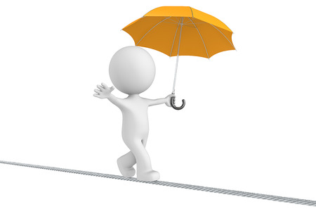 Challenge. The Dude walking on a rope holding orange umbrella. Isolated. Stock Photo