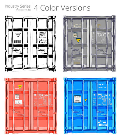 front loading: Set of Cargo containers. Vector illustration of Cargo containers. 4 versions,Color Series