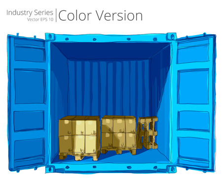 export import: Container with Pallets. Vector illustration of open container with good, Color Series. Illustration