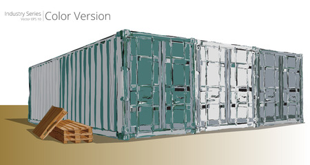 outdoor goods: Container Yard. Vector illustration of Abstract containers, Color Series