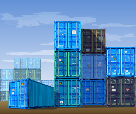 steel industry: Cargo Containers. Vector illustration of Containers with background, Color Series