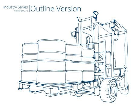 forklift truck: Forklift truck. Vector illustration of Forklift truck with Barrels, Outline Series Illustration