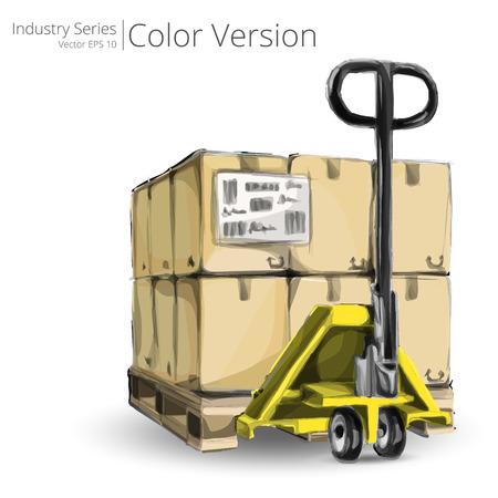 montacargas: Mano de camiones y palets. Ilustración del vector del carro de mano con paletas, Color Series