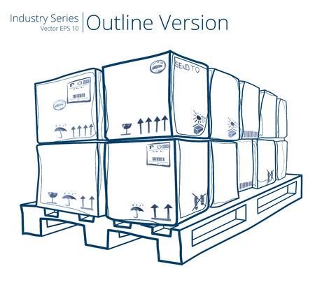palet: Paleta con las cajas. Ilustración vectorial de palets con cajas, Outline Series.