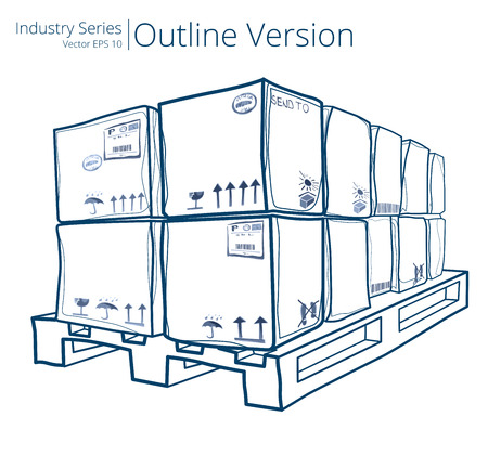 pallet: Pallet with Boxes. Vector illustration of Pallet with Boxes, Outline Series. Illustration