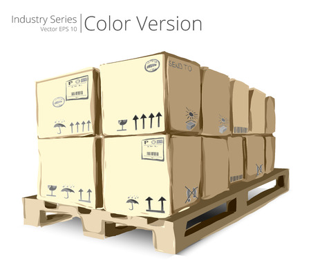 pallet: Pallet with Boxes. Vector illustration of Pallet with Boxes, Color Series.