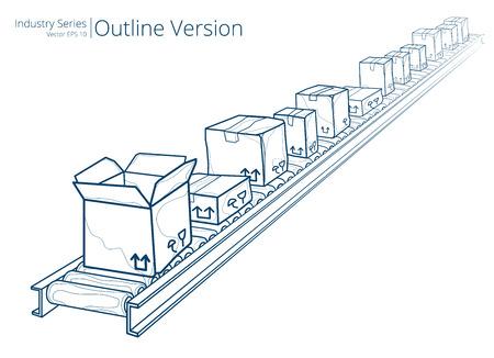 conveyor belts: Conveyor Belt. Vector illustration of conveyor belt, Outline Series. Illustration
