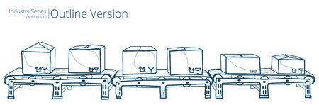 Conveyor Belt. Vector illustration of conveyor belt, Outline Series. Vettoriali