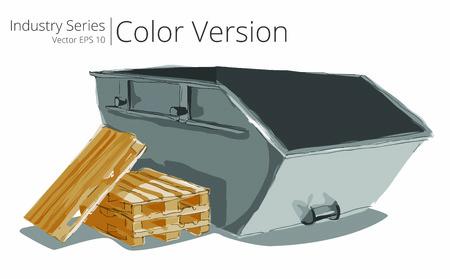 Industrial Skip. Ilustración vectorial conjunto de Skip y Pallets, Series Color.