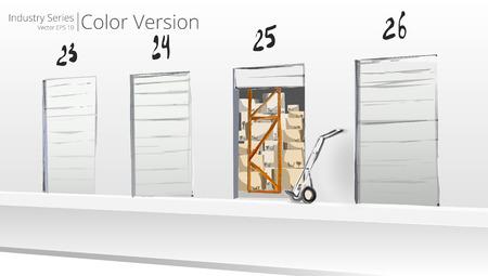Chargement Dock. Vector illustration de la plateforme de chargement, Color Series.