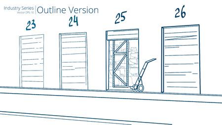dock: Loading Dock. Vector illustration of Loading Dock, Outline Series.