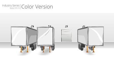 Quai de chargement et de remorques. Vector illustration de la plateforme de chargement, Color Series. Vecteurs