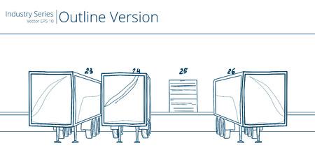 dock: Loading Dock and Trailers. Vector illustration of Loading Dock, Outline Series.