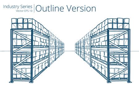Magazijn rekken. Vector illustratie van Warehouse Planken, Outline Series.