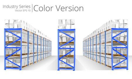 Magazijn rekken. Vector illustratie van Warehouse Planken, Color Series.