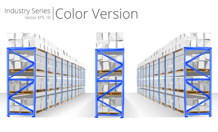 warehouse interior: Warehouse Shelves. Vector illustration of Warehouse Shelves, Color Series.