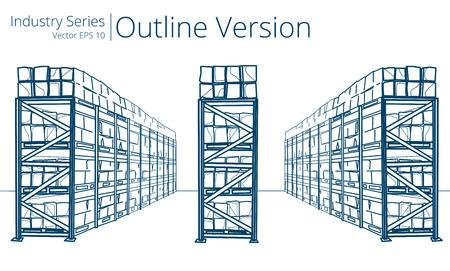 Warehouse Shelves. Vector illustration of Warehouse Shelves, Outline Series.