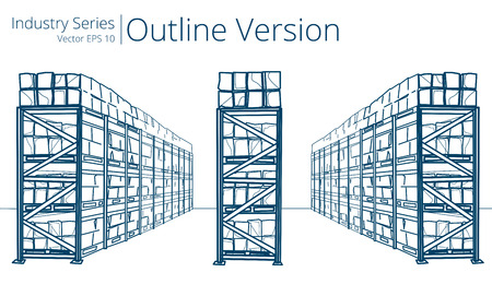 shelf: Warehouse Shelves. Vector illustration of Warehouse Shelves, Outline Series.