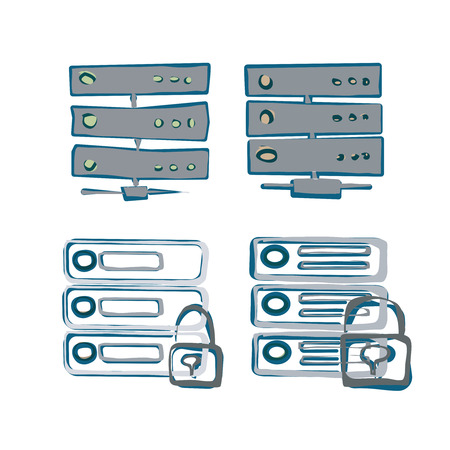 Server Icon. Sketch style Vector of Server Icon. Color scheme. Vector